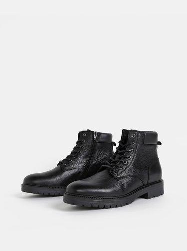 Černé kožené kotníkové boty Jack & Jones Whounslow