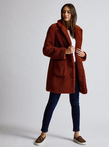 Hnedý kabát z umelej kožušiny Dorothy Perkins