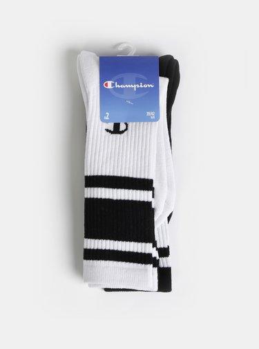 Sada dvoch párov pánskych ponožiek v bielej a čiernej farbe Champion