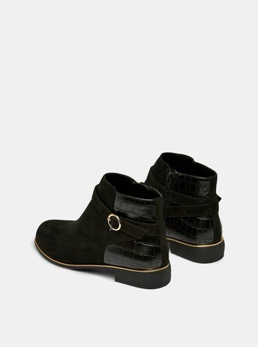 Černé kotníkové boty v semišové úpravě s krokodýlím vzorem Dorothy Perkins