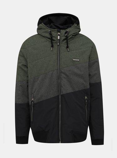 Zeleno-šedá pánska prešívaná nepromokavá zimná bunda Ragwear Tricole