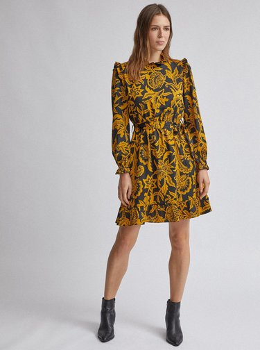 Čierno-horčicové vzorované šaty Dorothy Perkins