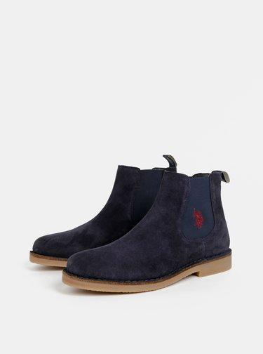 Tmavě modré pánské semišové chelsea boty U.S. Polo Assn. Faust