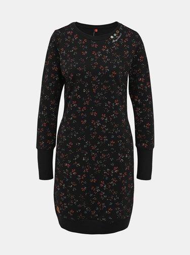 Černé vzorované mikinové šaty Ragwear Menita Flowers
