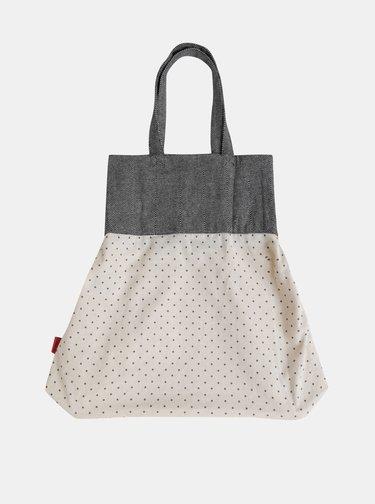 Šedo-béžová puntíkovaná plátěná taška Tranquillo Chloe