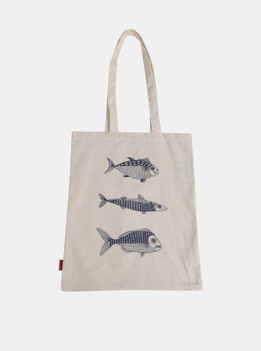 Béžová plátěná taška s potiskem Tranquillo Fish