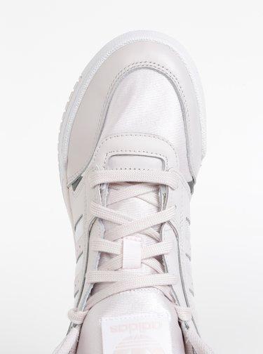 Svetloružové dámske kožené členkové tenisky adidas Originals Drop Step