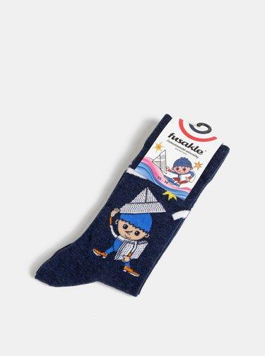 Tmavě modré vzorované ponožky Fusakle Vecernicek
