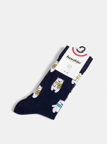 Tmavě modré vzorované ponožky Fusakle Lední medvěd
