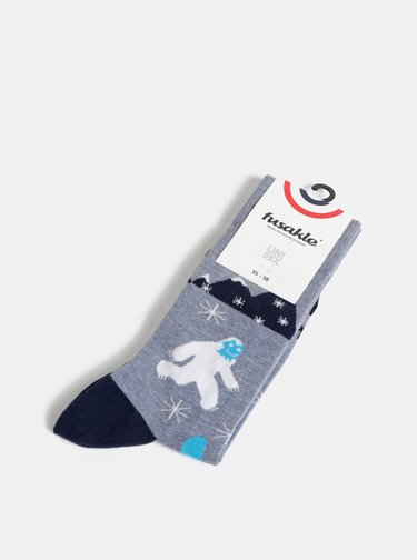 Modré vzorované ponožky Fusakle Jety existuje