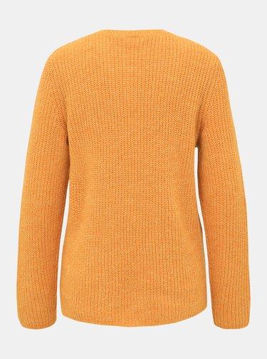 Oranžový basic sveter s prímesou vlny VILA Good