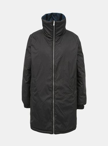 Černo-petrolejový oboustranný prošívaný zimní kabát ONLY Seanne