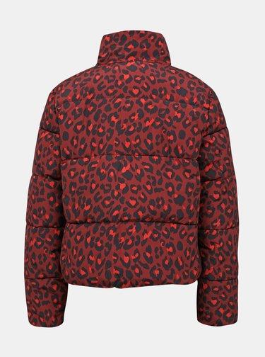 Vínová zimná bunda s leopardím vzorom Jacqueline de Yong Erica