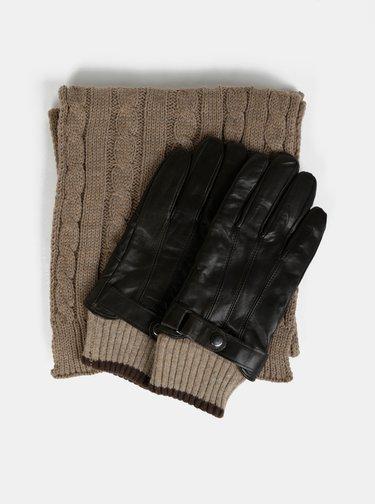 Sada hnedých kožených rukavíc a šálu Portland