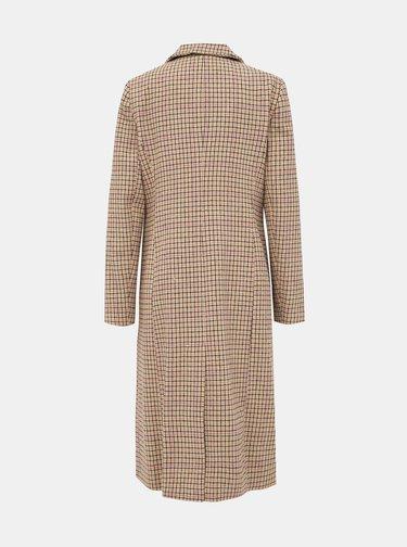 Béžový kostkovaný kabát Miss Selfridge