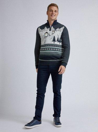 Tmavě modrý svetr s norským vzorem Burton Menswear London