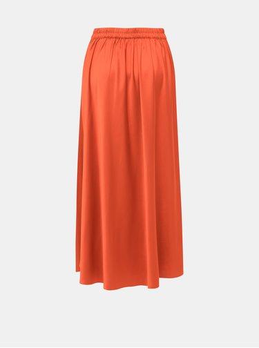 Oranžová staénová maxi sukňa VERO MODA Christas
