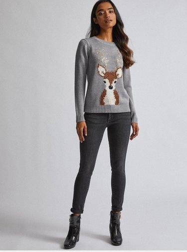 Šedý sveter s vianočným motívom Dorothy Perkins Petite