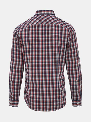 Modro-červená pánská kostkovaná slim fit košile Pepe Jeans Albert
