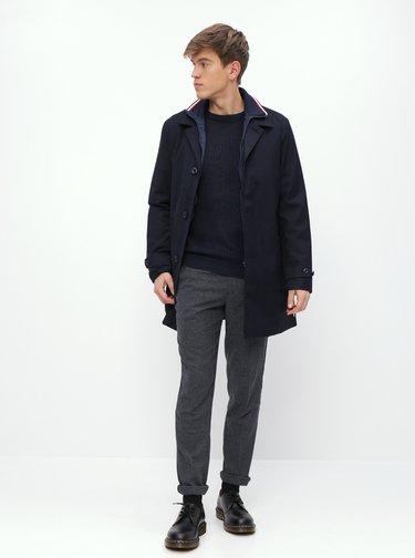 Šedé vzorované slim fit kalhoty s příměsí vlny Selected Homme Fleet