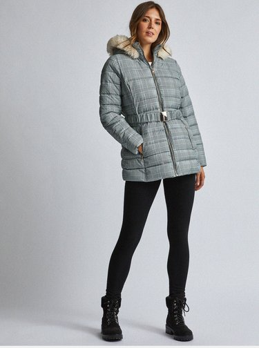 Šedá kostkovaná prošívaná zimní bunda Dorothy Perkins