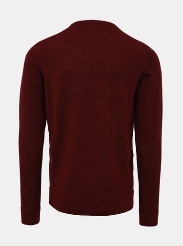Vínový basic sveter z Merino vlny Lindbergh