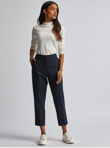 Tmavě modré pruhované tapered fit kalhoty Dorothy Perkins Petite