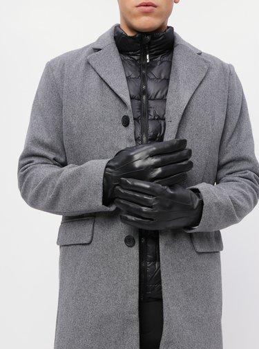 Černé kožené rukavice Burton Menswear London