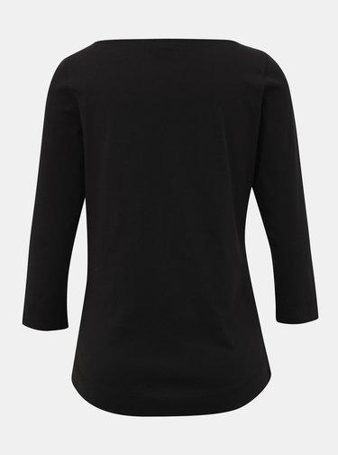 Černé dámské basic tričko s 3/4 rukávem Tommy Hilfiger