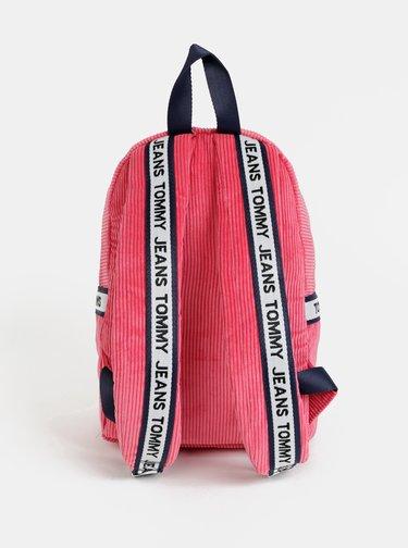 Růžový dámský manšestrový batoh Tommy Hilfiger