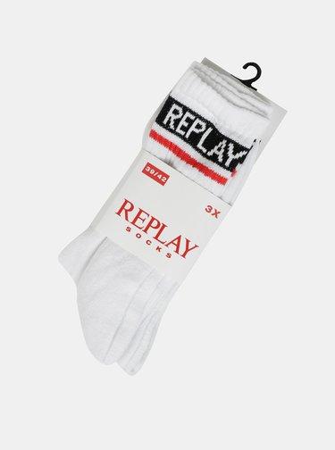 Sada troch párov pánskych bielych ponožiek Replay
