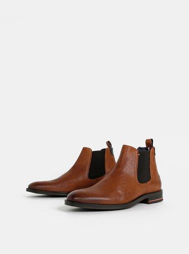 Hnedé pánske kožené chelsea topánky Tommy Hilfiger