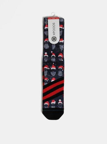 Tmavomodré pánske ponožky s vianočným motívom XPOOOS