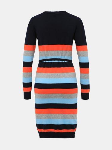 Oranžovo-modré pruhované kojicí svetrové šaty Mama.licious Kenna
