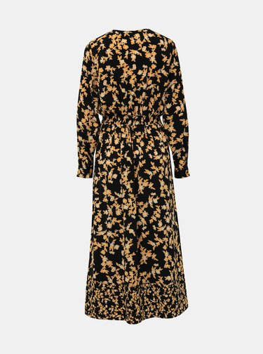 Žlto-čierne kvetované maxišaty ONLY Venera