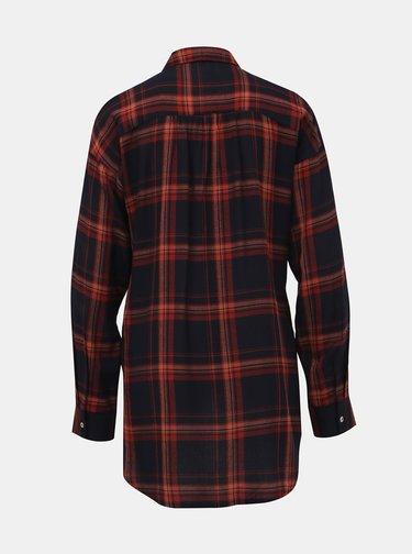Tmavomodrá kockovaná košeľa ONLY New Pamela