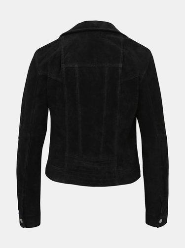 Čierna kožená bunda VERO MODA Royce Salon
