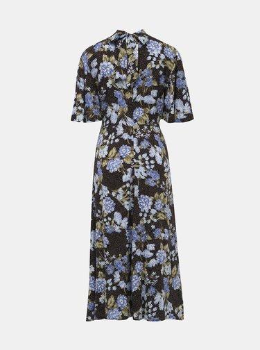 Černé květované maxišaty s rozparkem Miss Selfridge