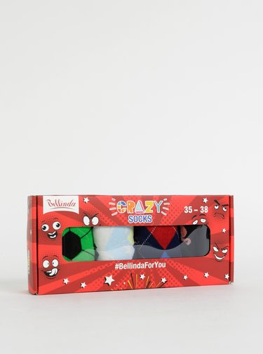 Sada štyroch párov vzorovaných ponožiek v modrej a zelenej farbe Bellinda Crazy