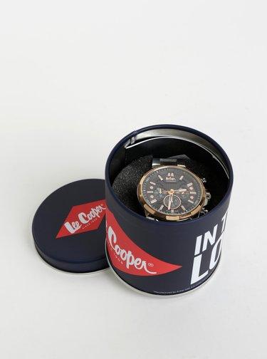 Pánske hodinky s kovovým reminkom v striebornej farbe Lee Cooper
