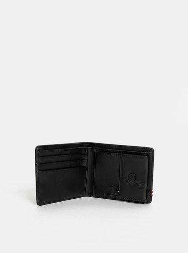 Čierna kožená peňaženka Herschel Supply Hank