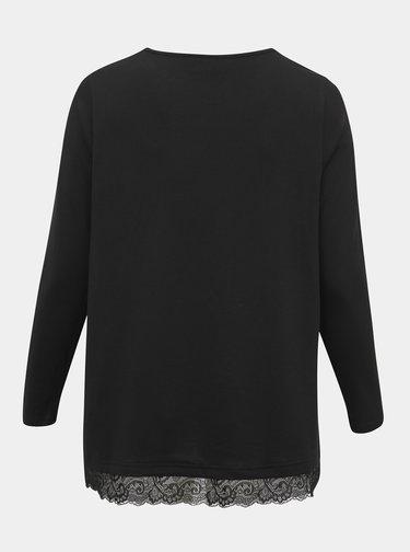 Čierny sveter s krajkou Zizzi Lucca