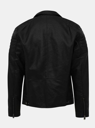 Čierna koženková bunda Jack & Jones Rocky
