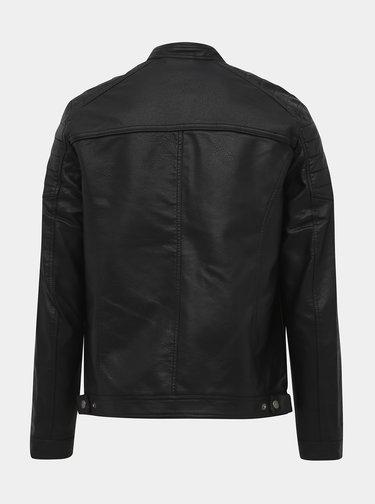 Černá koženková bunda Jack & Jones Rocky