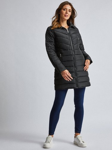 Čierny prešívaný kabát Dorothy Perkins