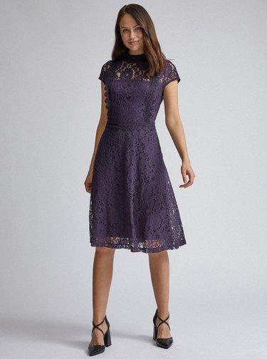Tmavě fialové krajkové šaty Dorothy Perkins