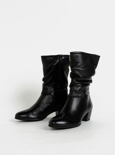 Čierne kožené nízke čižmy Tamaris