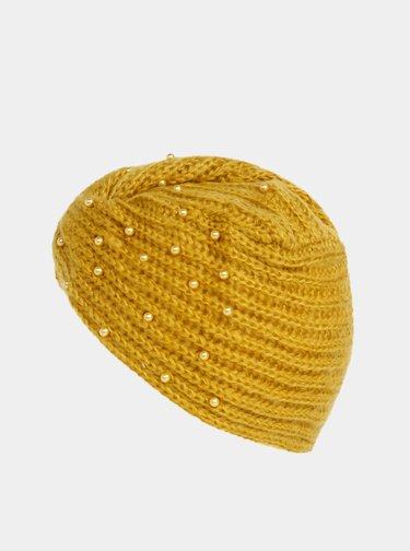 Hořčicová dámská čepice s korálky Haily´s Pearly