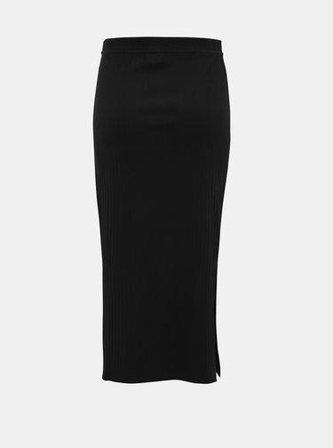 Čierna púzdrová rebrovaná midi sukňa Noisy May Monica