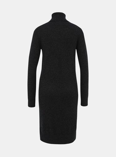 Tmavošedé svetrové šaty s prímesou vlny Calvin Klein Jeans